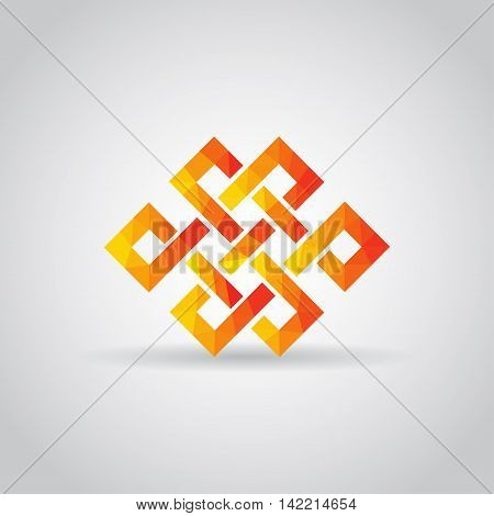Endless knot icon in polygonal style on a gray background