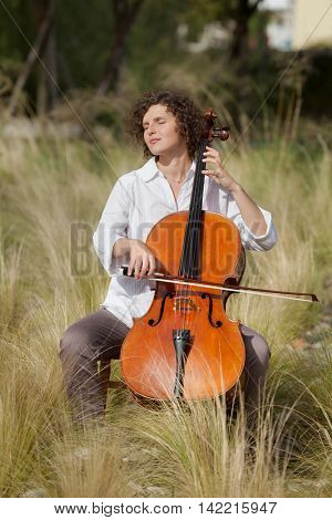 beautiful girl plays the cello between the hay of a field