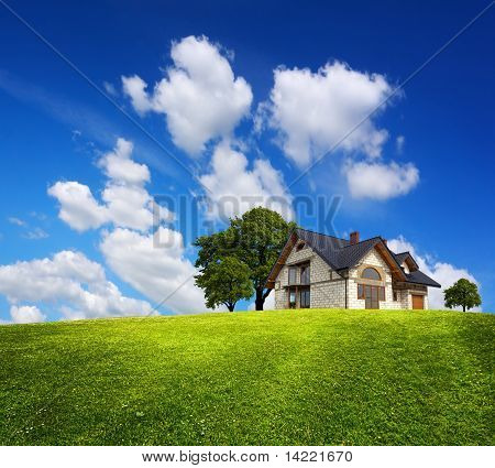 Family House On A Green Hill