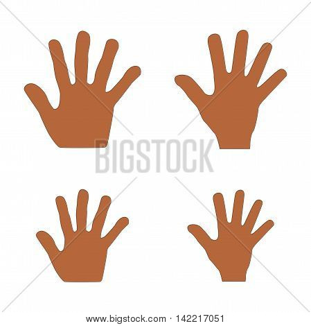Illustration set of handprints family of mother, father, son and daughter isolated on white background
