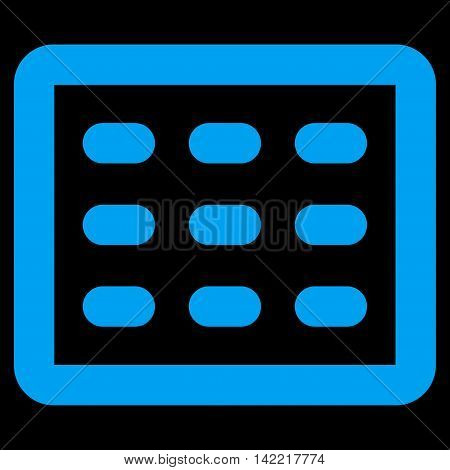 Table Grid vector icon. Style is contour flat icon symbol, blue color, black background.