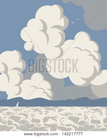 Vector seascape with clouds sailboat and mountains