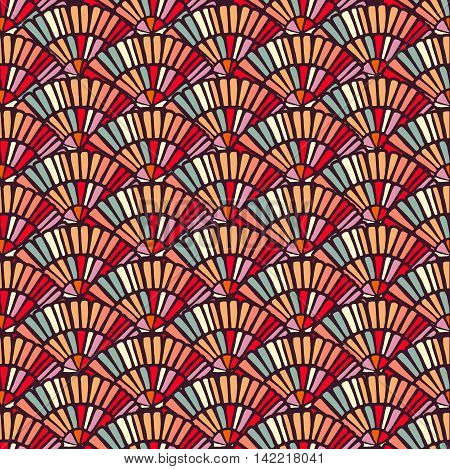 Colorful Hand Fan Mosaic Tile Seamless Pattern