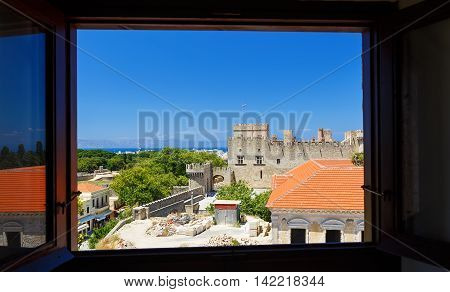 view from window of the ancient chapel on fortress Rhodes