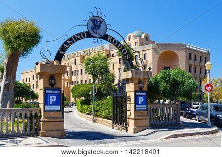 Greece, Rhodes - July 16 : Rhodes casino hotel building sunny summer