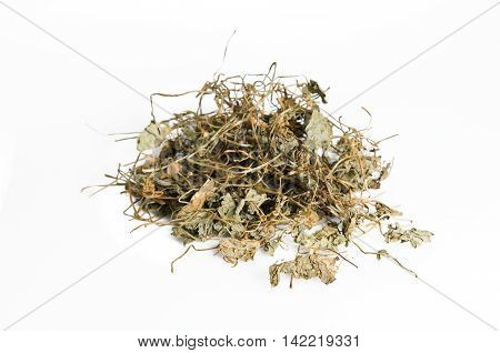 Dried Centella Asiatica Or Thankuni In Indian, Buabok In Thailand Isolated On White