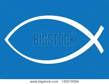 White Icthys On Blue Background Religious Symbol