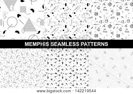 Collection of retro geometric patterns with mosaic shapes - seamless backgrounds. Retro memphis style. Fashion 1980-1990s. Luxury black and white design.