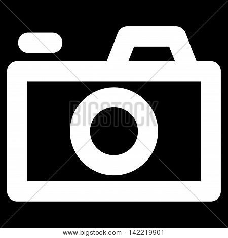 Camera vector icon. Style is contour flat icon symbol, white color, black background.