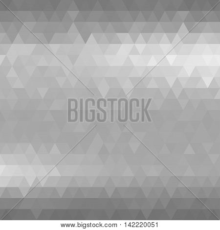 Silver metal background. Gray mosaic triangles. Vector illustration does not contain gradient and transparency.