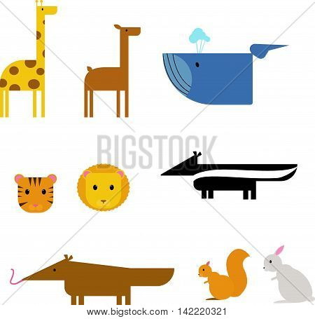 Cartoon animals character and wild cartoon cute animals set. Cartoon zoo animals set wildlife isolated on white