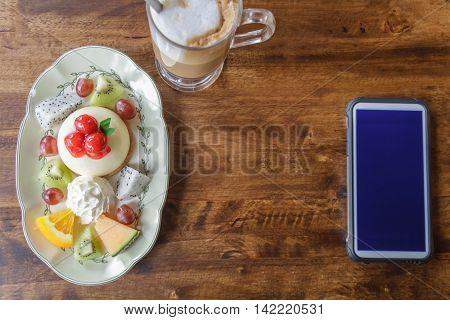 Dessert On Wood Table.