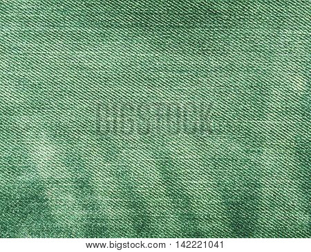 Abstract Green Color Jeans Texture.
