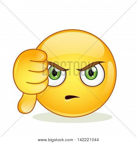 Dislike sign smiley emoticon. Vector illustration isolated on white background.