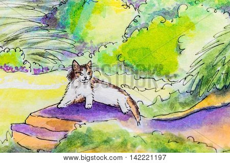 Original painting of a tabby and white cat lying down on a warm rock in a garden..