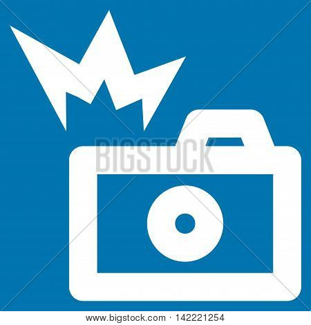 Camera Flash vector icon. Style is linear flat icon symbol, white color, blue background.