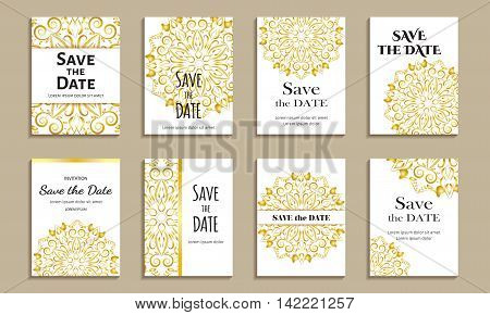 Set of cards save the date. Vintage template golden circular pattern. Vector illustration for corporate identity, individual cards, form style.