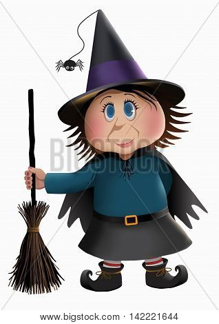 Little witch and a broomstick isolated vector illustration.