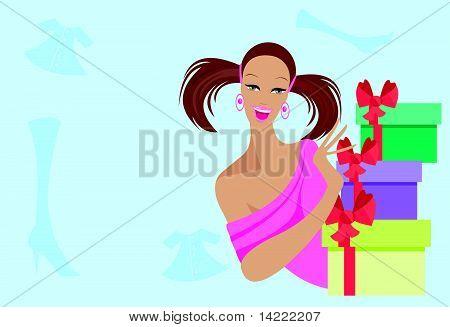 Chica guapa con regalos