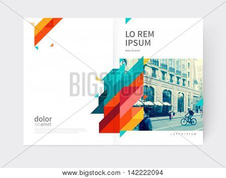 Minimalistic yellow and red Brochure. Booklet, annual report cover template. a4 size. modern Geometric Abstract background. Yellow, red and blue diagonal lines & triangles.