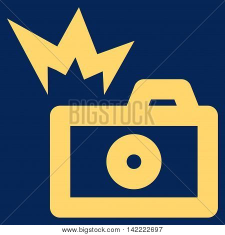 Camera Flash vector icon. Style is stroke flat icon symbol, yellow color, blue background.