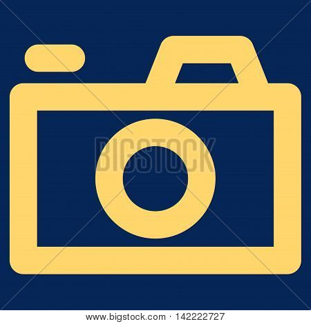 Camera vector icon. Style is outline flat icon symbol, yellow color, blue background.