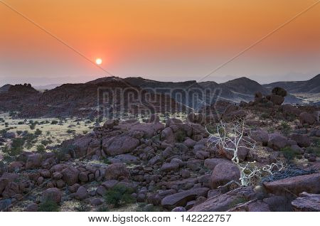 View of Damaraland in Namibia Africa at sunset
