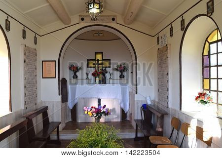 August 11, 2016-City of Palestrina-Roma-Lazio-A small votive chapel in memory of the war martyrs of city of Palestrina  during the landing in Anzio in World War II
