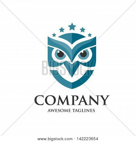 creative owl and stars logo vector design template