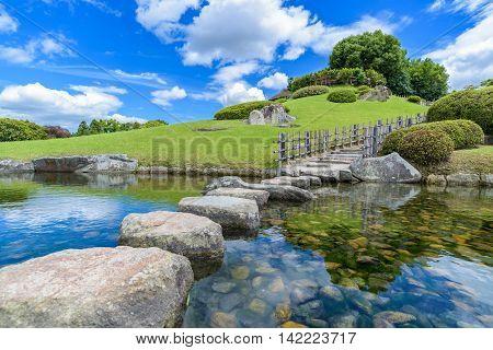 Korakuen Japanese garden in Okayama Japan in sunny day