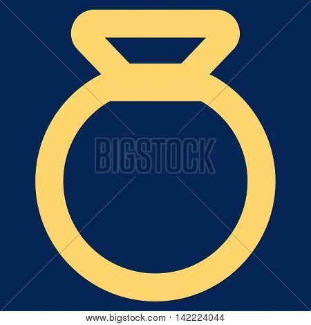 Sack vector icon. Style is linear flat icon symbol, yellow color, blue background.