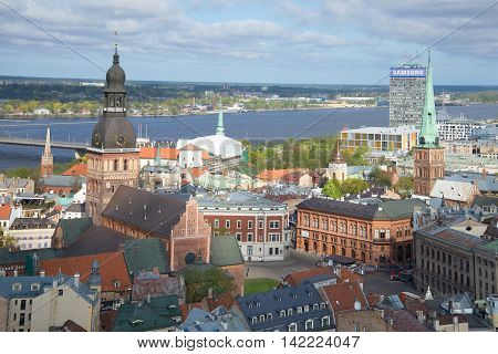 RIGA LATVIA - MAY 02 2014: View of the Central part of Riga the cloud may day
