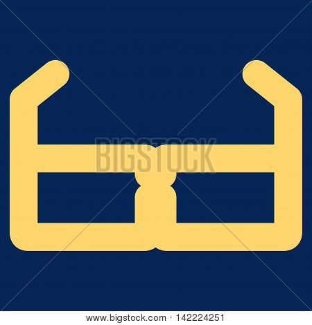Spectacles vector icon. Style is contour flat icon symbol, yellow color, blue background.