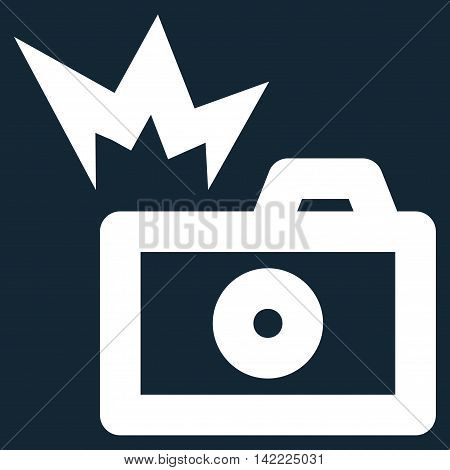 Camera Flash vector icon. Style is stroke flat icon symbol, white color, dark blue background.