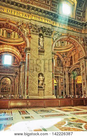 Interior Of Saint Peter Basilica In Vatican Of Italy