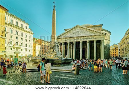 Pantheon And Fountain Of Pantheon In Rome Of Italy