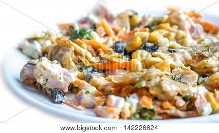 Mexican salad with mushrooms and mayonnaise food.