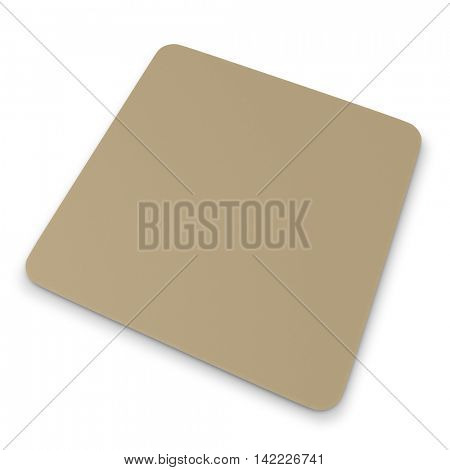 Blank beer square coaster with rounded corners. 3D render.