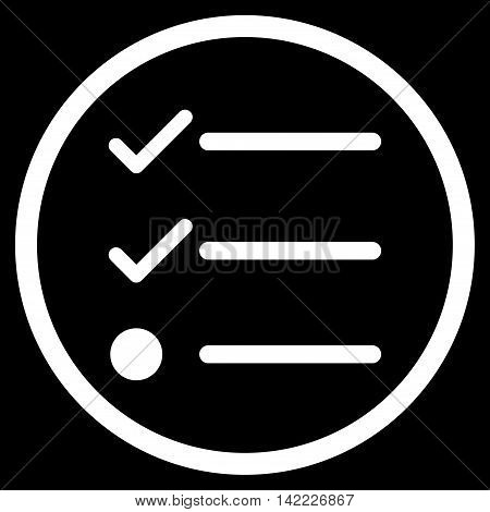 Checklist vector icon. Style is flat rounded iconic symbol, checklist icon is drawn with white color on a black background.