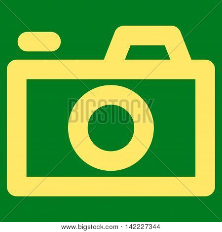 Camera vector icon. Style is stroke flat icon symbol, yellow color, green background.