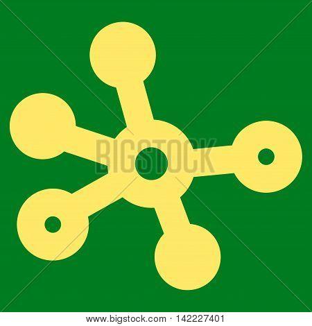 Connections vector icon. Style is stroke flat icon symbol, yellow color, green background.