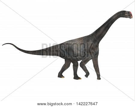 Brontomerus Side Profile 3D Illustration - Brontomerus was a herbivorous sauropod dinosaur that lived in the Cretaceous Period of Utah USA.
