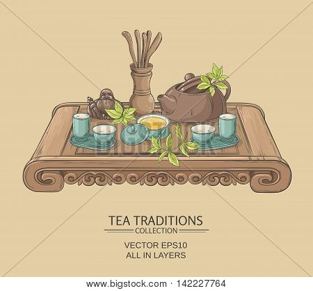 Tea table with teapot, tea pairs, tea gaiwan and tea tools