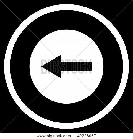 Left Rounded Arrow vector icon. Style is flat rounded iconic symbol, left rounded arrow icon is drawn with white color on a black background.