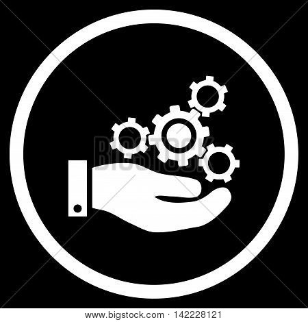 Mechanics Service vector icon. Style is flat rounded iconic symbol, mechanics service icon is drawn with white color on a black background.