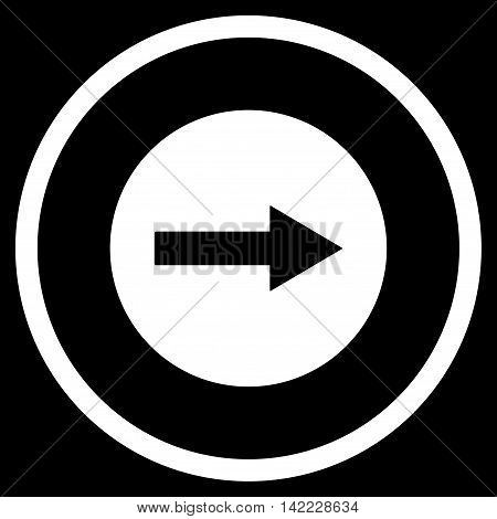 Right Rounded Arrow vector icon. Style is flat rounded iconic symbol, right rounded arrow icon is drawn with white color on a black background.