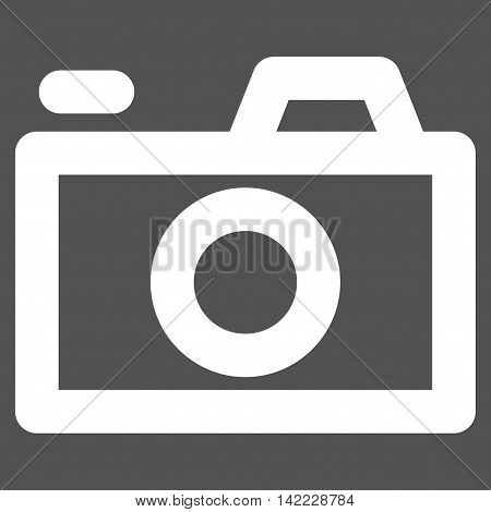 Camera vector icon. Style is contour flat icon symbol, white color, gray background.