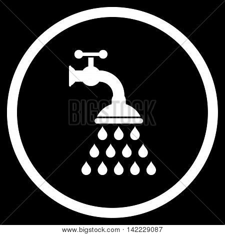 Shower Tap vector icon. Style is flat rounded iconic symbol, shower tap icon is drawn with white color on a black background.