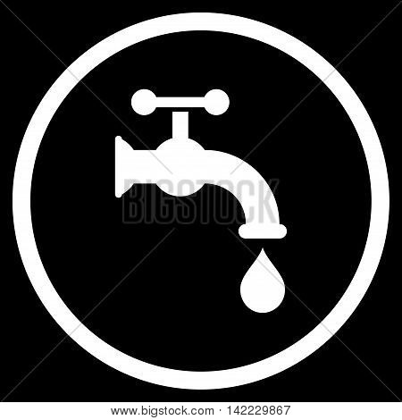 Water Tap vector icon. Style is flat rounded iconic symbol, water tap icon is drawn with white color on a black background.