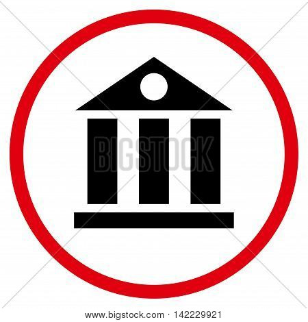 Bank Building vector icon. Style is bicolor flat rounded iconic symbol, bank building icon is drawn with intensive red and black colors on a white background.